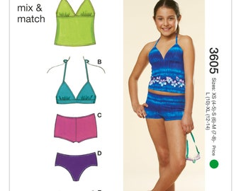 e08067c8a903f Sewing Pattern for Girls  Two-Piece Swimsuits