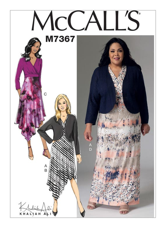 Sewing Pattern Misses\'/Women\'s Shrug and Surplice Dresses, McCall\'s Pattern  M7367, Easy Sew Dress, Plus Size Avail, Maxi Dress, Shrug, Dress