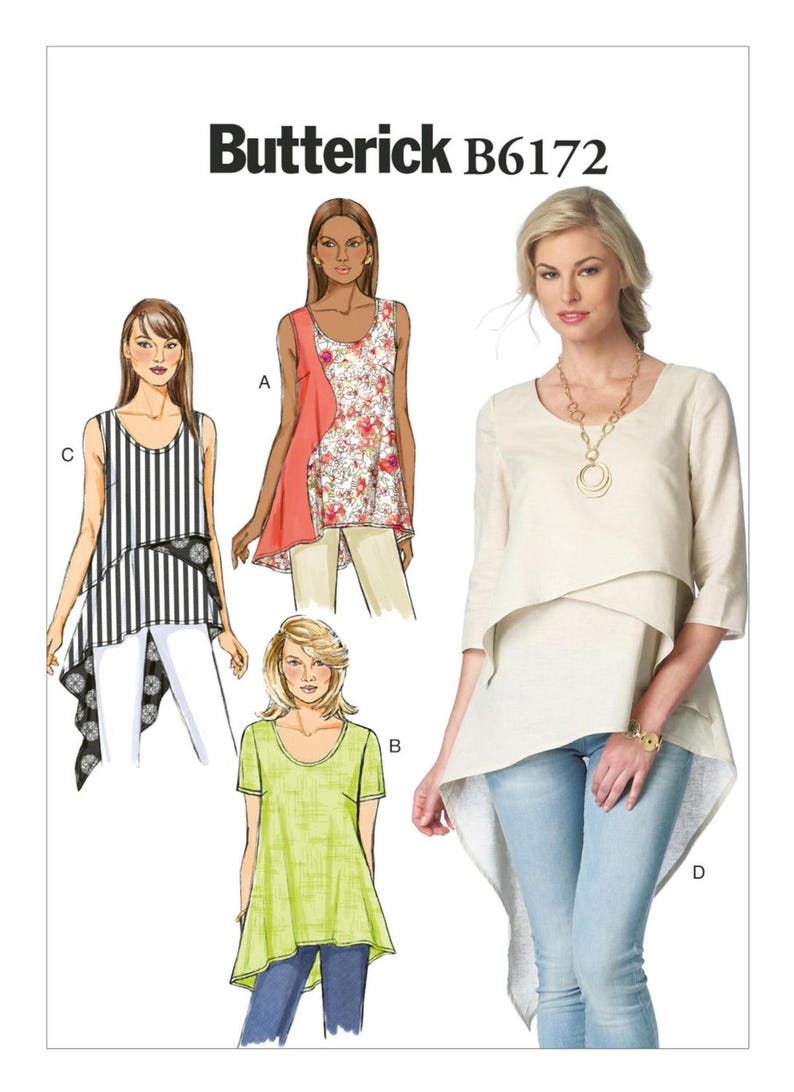 Sewing Pattern for Misses' Asymmetrical-Hem Tops and Tunics Tops, Butterick  Pattern B6172, Sleeve Options, Scoop Neck