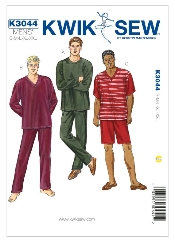 Kwik Sew SEWING PATTERN K4075 Men/'s Shirts S,M,L,XL,XXL
