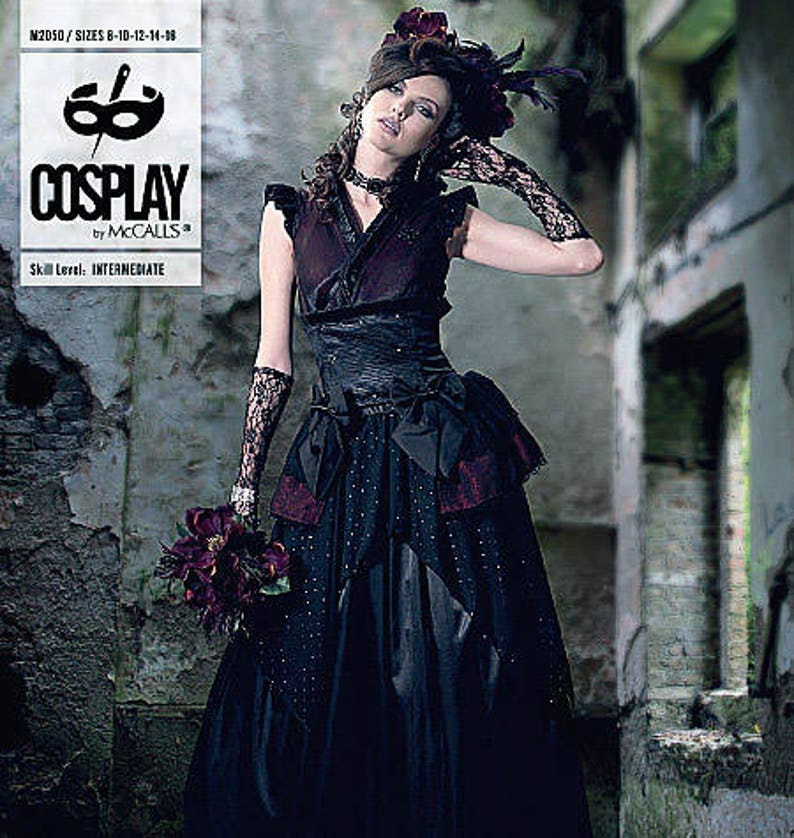 Steampunk Sewing Patterns- Dresses, Coats, Plus Sizes, Men's Patterns Sewing Pattern- BELLE NOIR Top Detached Sleeves Overskirt Skirt and Fascinator Cosplay by McCalls Pattern 2050 Womens Cosplay Costum $21.95 AT vintagedancer.com