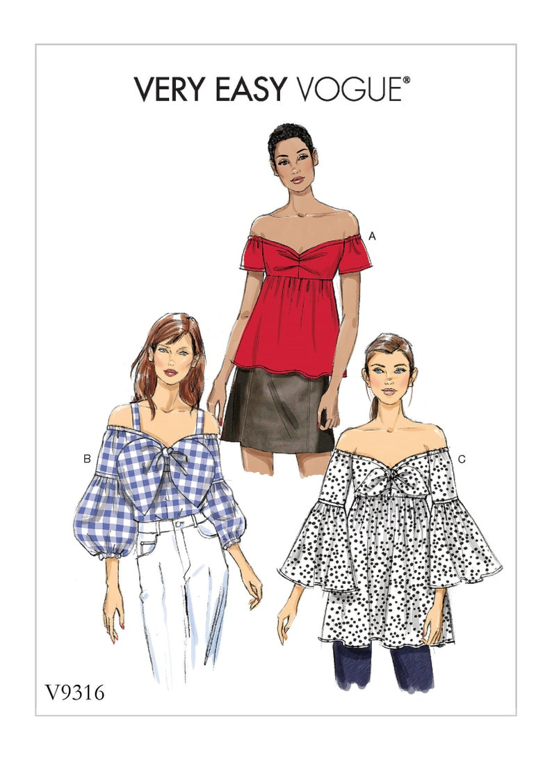 6545efcf96b5 Sewing Pattern for Misses TOPS with Off the Shoulder Vogue