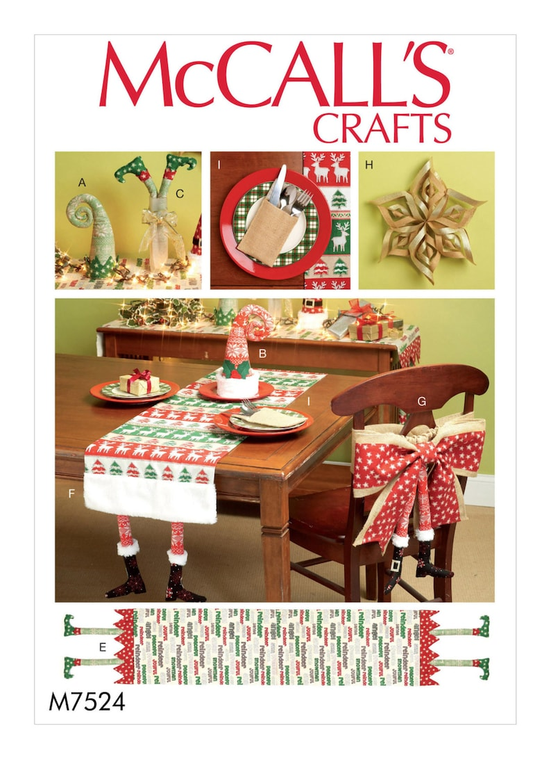 Sewing Pattern For Christmas Table Runners Decorations Chair Etsy