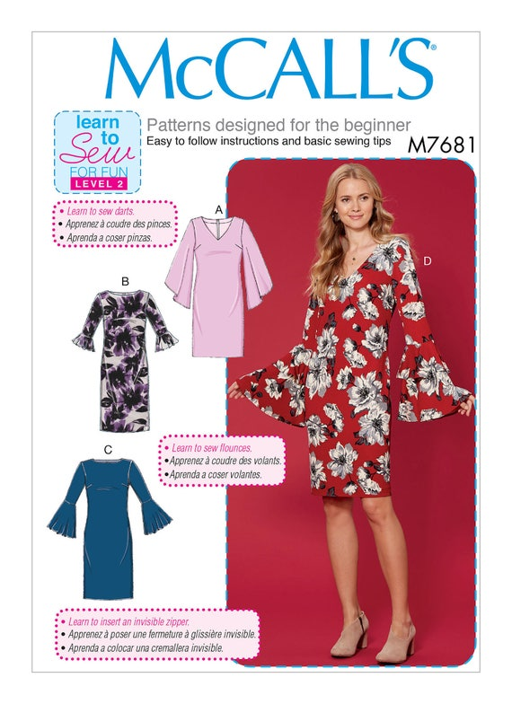 Sewing Pattern for Misses\' Dresses w/ Flounce Sleeve | Etsy