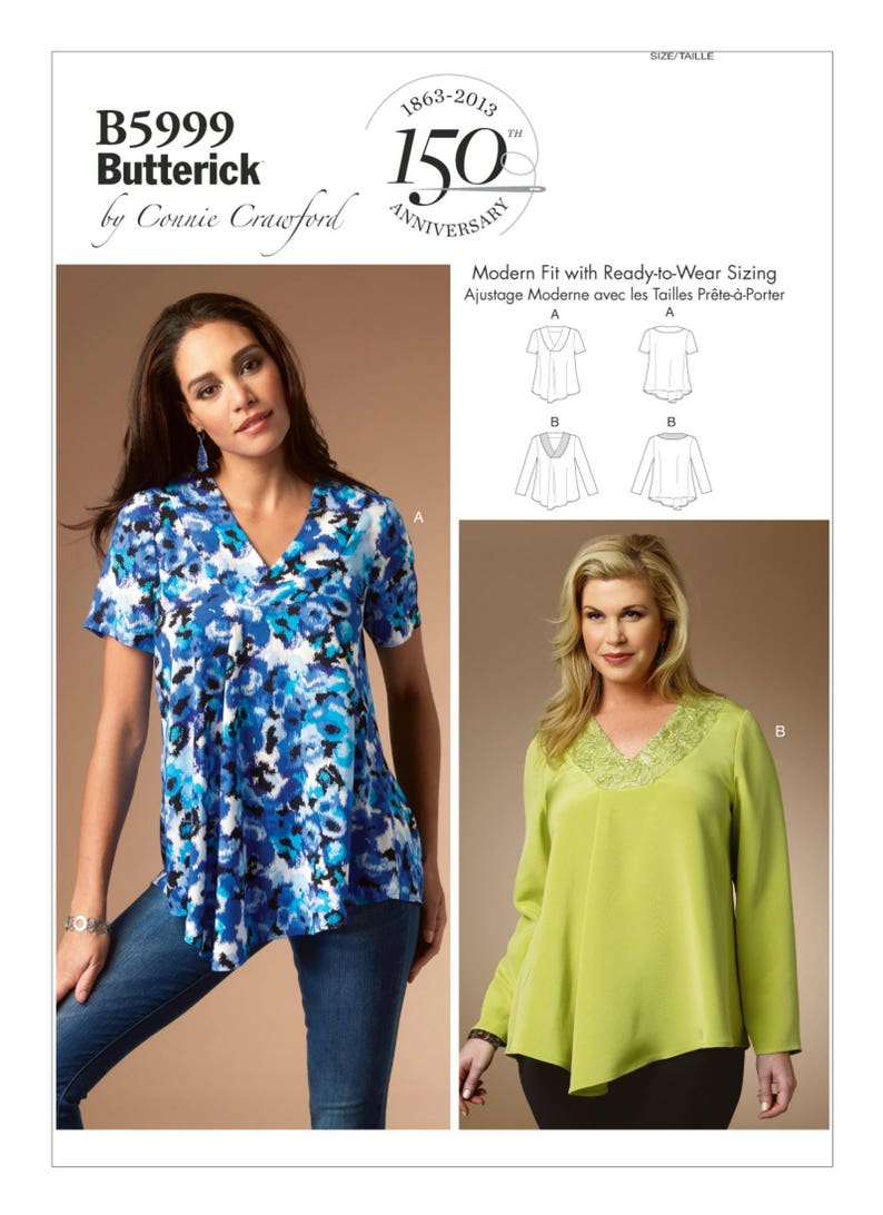 ff4b5ee97e9 Sewing Pattern for Misses'/Women's V-Neck Tops Connie | Etsy