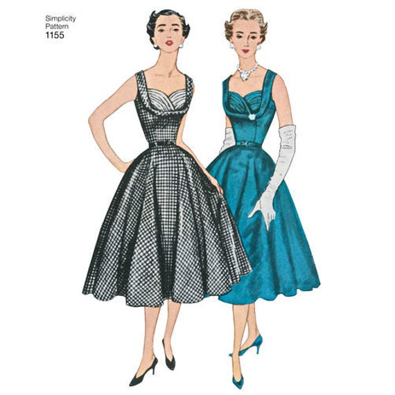 Sewing Pattern For 1950s Vintage Dress Women Simplicity