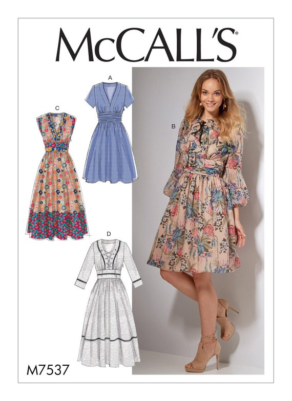 Sewing Pattern for Misses\' Banded, Gathered-Waist Dresses, McCall\'s ...