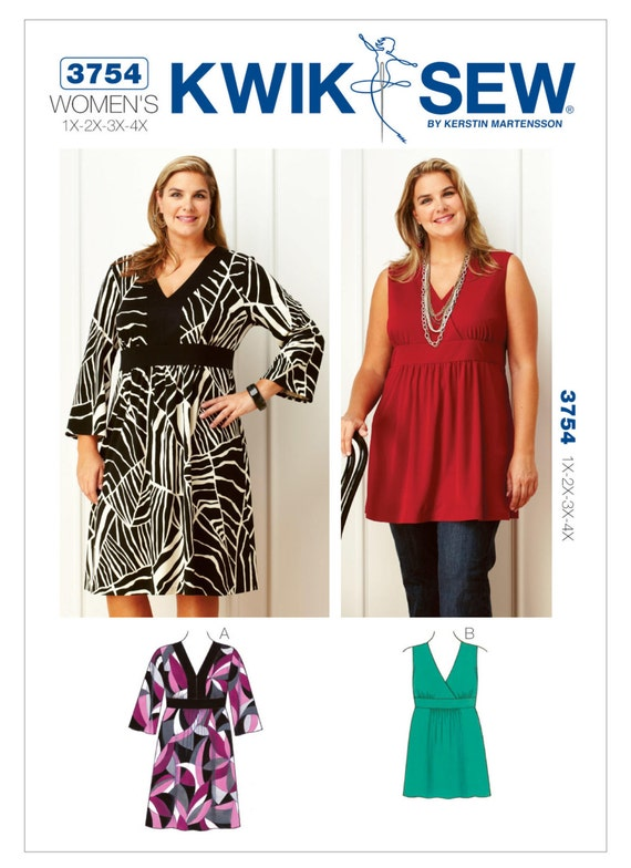 Sewing Pattern For Womens Plus Size V Neck Dress And Etsy