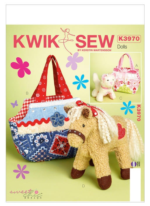Sewing Pattern for Stuffed Animal Pets and Carrier Bags Kwik