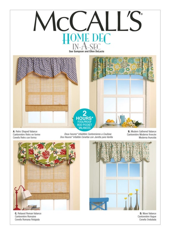 Sewing Pattern For Four Window Valances Patterns McCalls Etsy Stunning Valance Patterns
