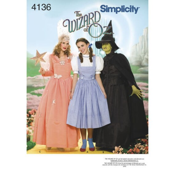 Sewing Pattern Womens Wizard of Oz Costume, Halloween Costume ...