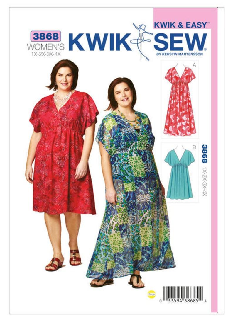 Sewing Pattern for Women\'s Plus Size Empire-Waist Dresses, Kwik Sew Pattern  3868, Womens\' Dress, 1X to 4X, Plus Size Dress, K3868