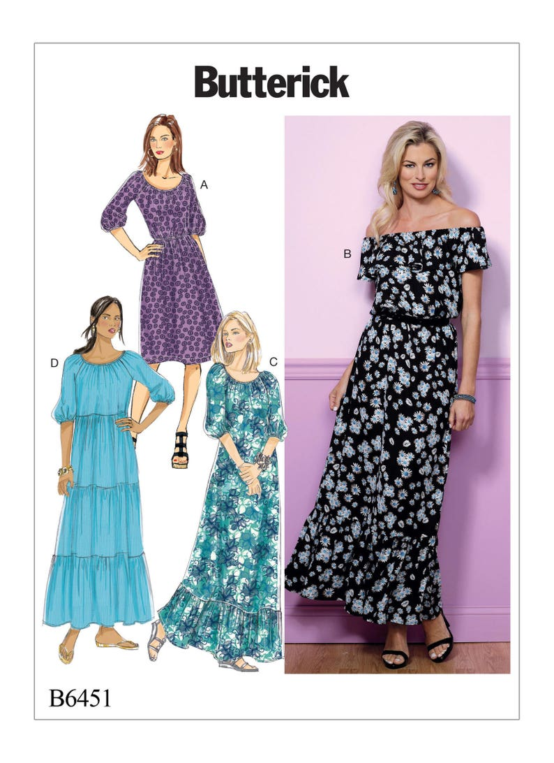 Sewing Pattern Misses Gathered, Blouson Dresses, Butterick Pattern B6451,  Plus Sizes Available, Maxi Dress, Tiered Skirt Dress, Off Shoulder