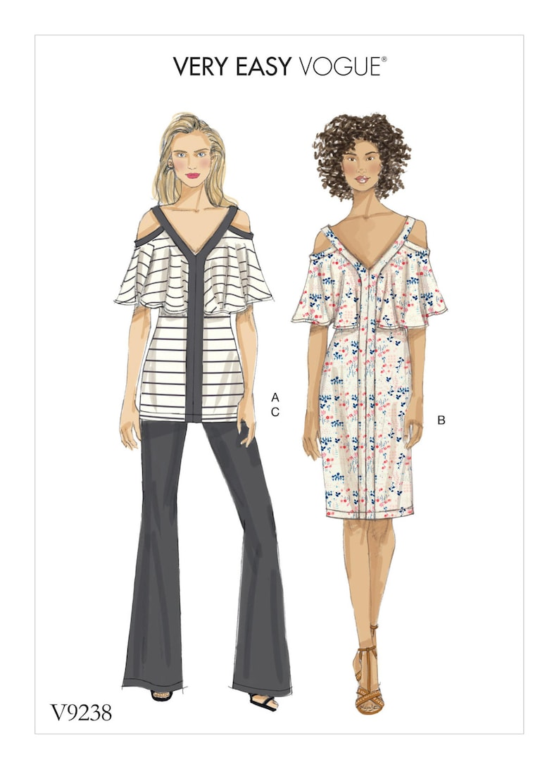 Vogue Sewing Pattern V9257 Women/'s Off The Shoulder Ruffle Top Trousers /& Shorts