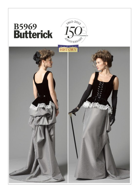 Guide to Victorian Civil War Costumes on a Budget Sewing Pattern for Peplum Corset Skirt with Bustle CostumeButterick Pattern B5969Halloween Cosplay SteampunkVictorian Bustle & Train $4.95 AT vintagedancer.com