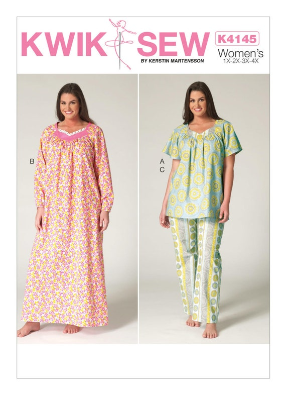 Sewing Pattern For Womens Plus Size Pajama Top Nightgown Etsy