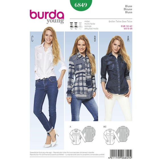 Sewing Pattern For Young Misses Tops Shirts Blouses Burda Etsy