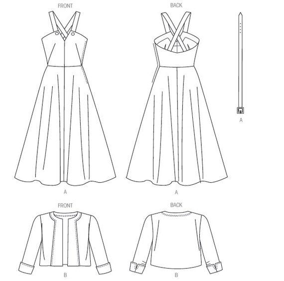 V8974 Vogue Sewing Pattern Misses/' Retro Vintage 1940s Jacket Dress Belt 1949