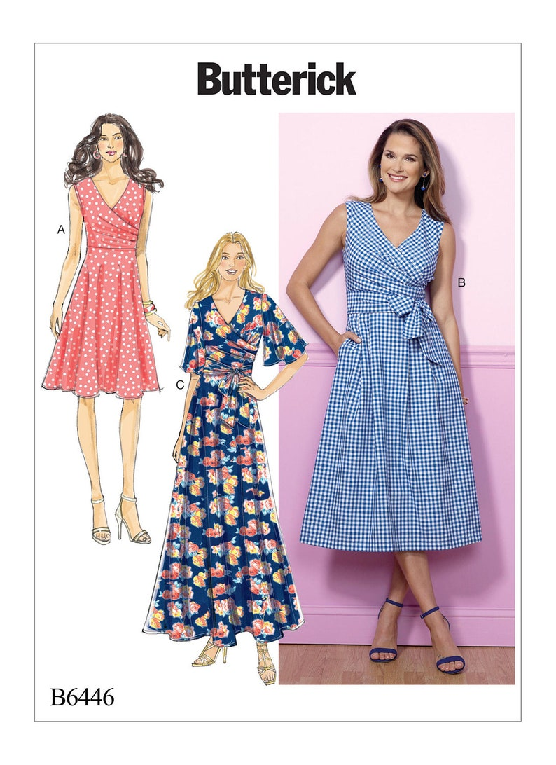 6d62584c9e Sewing Pattern for Misses' Pleated Wrap Dresses with Sash | Etsy