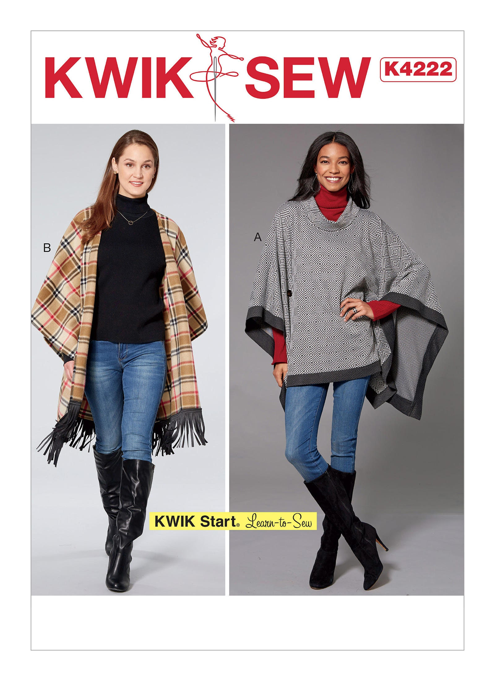 Sewing Pattern for Misses\' Ponchos with Button Detail, Kwik Sew ...