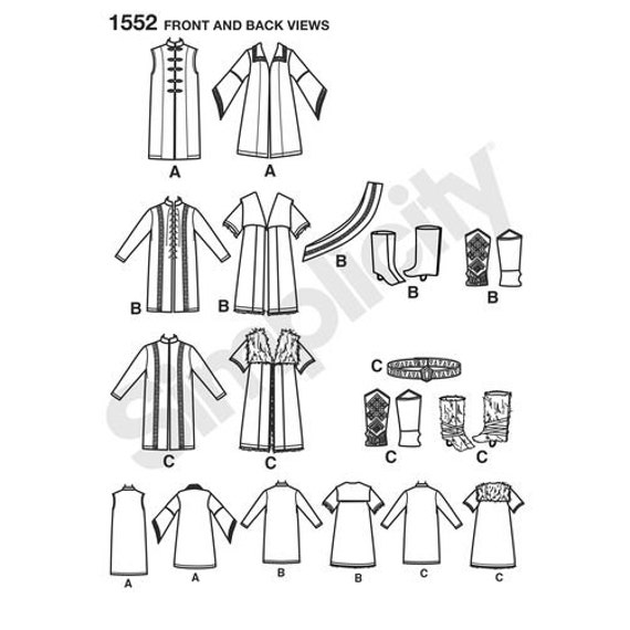 Sewing Pattern for Mens Fantasy Men\'s Medieval Tunic, Tabard, Cloak ...