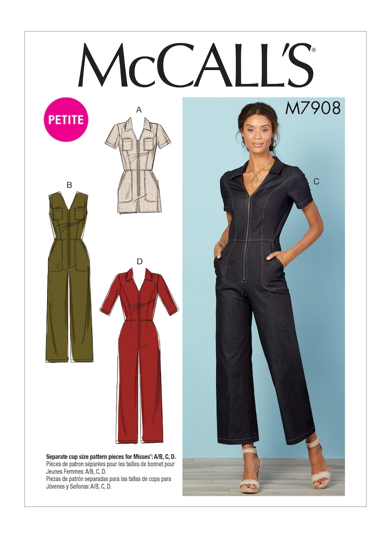 246bd6f5df85 Sewing Pattern for Womens Jumpsuits in Misses Size   Petite