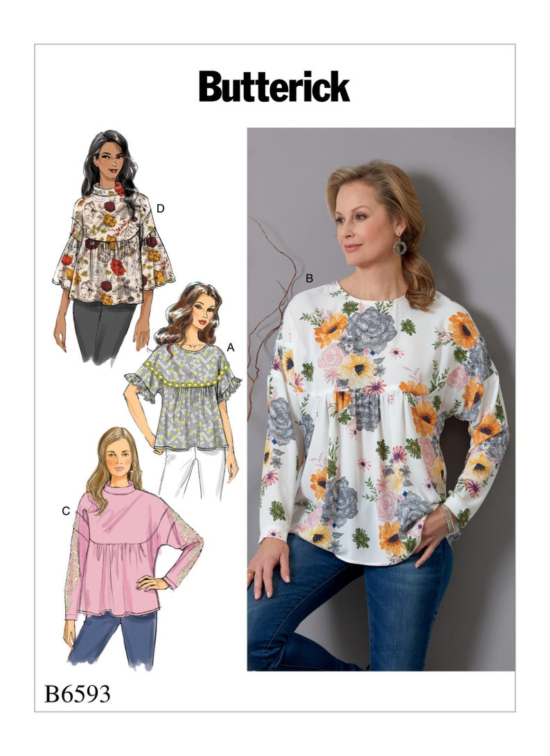 33fc08b844 Sewing Pattern for Misses' Tops Butterick Pattern 6593 | Etsy