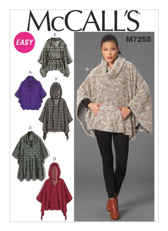 Sewing Pattern For Misses Cowl Neck Or Hooded Ponchos And Etsy