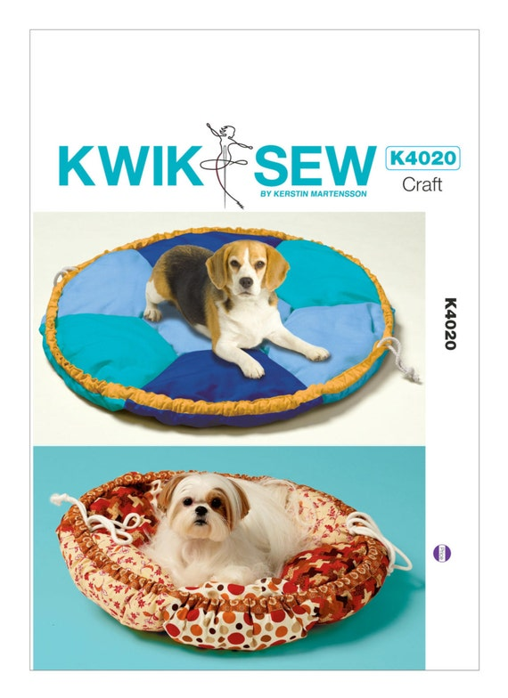 Sewing Pattern for Pet Bed In 2 Sizes, Kwik Sew # K4020, Round Dog Bed, 26 in & 34 in Round Dog Bed Pillows