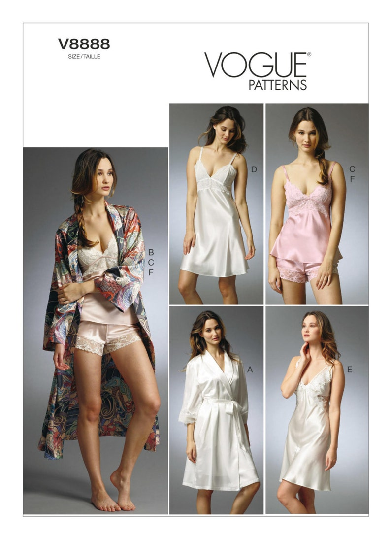 7029b22c4ede4 Patron de couture pour ROBES de Mlles, garnis de dentelle feuillets, caraco  et culotte, Vogue modèle V8888, modèle de Lingerie, Lingerie mariage, ...
