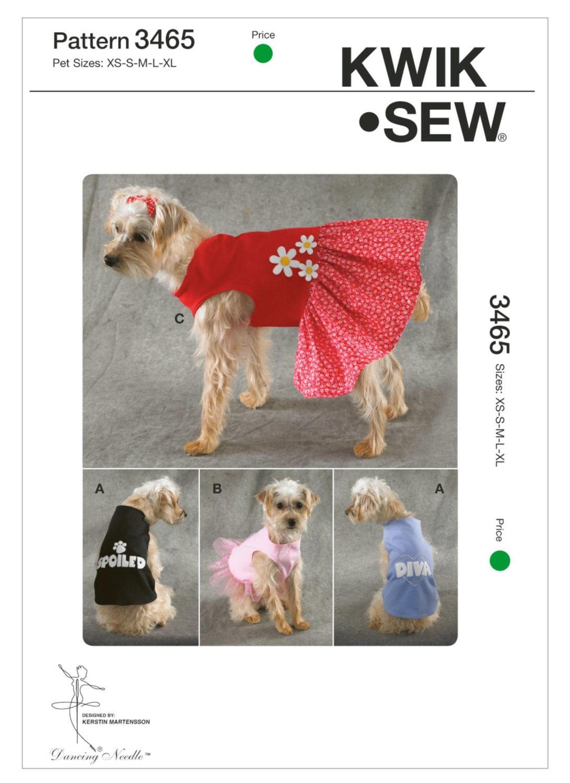 Sewing Pattern for Dog Dress and Dog Shirt Kwik Sew 3465