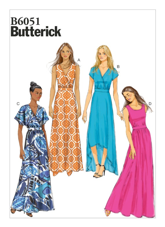 Sewing Pattern Womens Maxi Dress in Misses & Plus Sizes, Butterick Pattern  6051, EASY Sew, New Pattern, B6051, 4 Variations of Dresses
