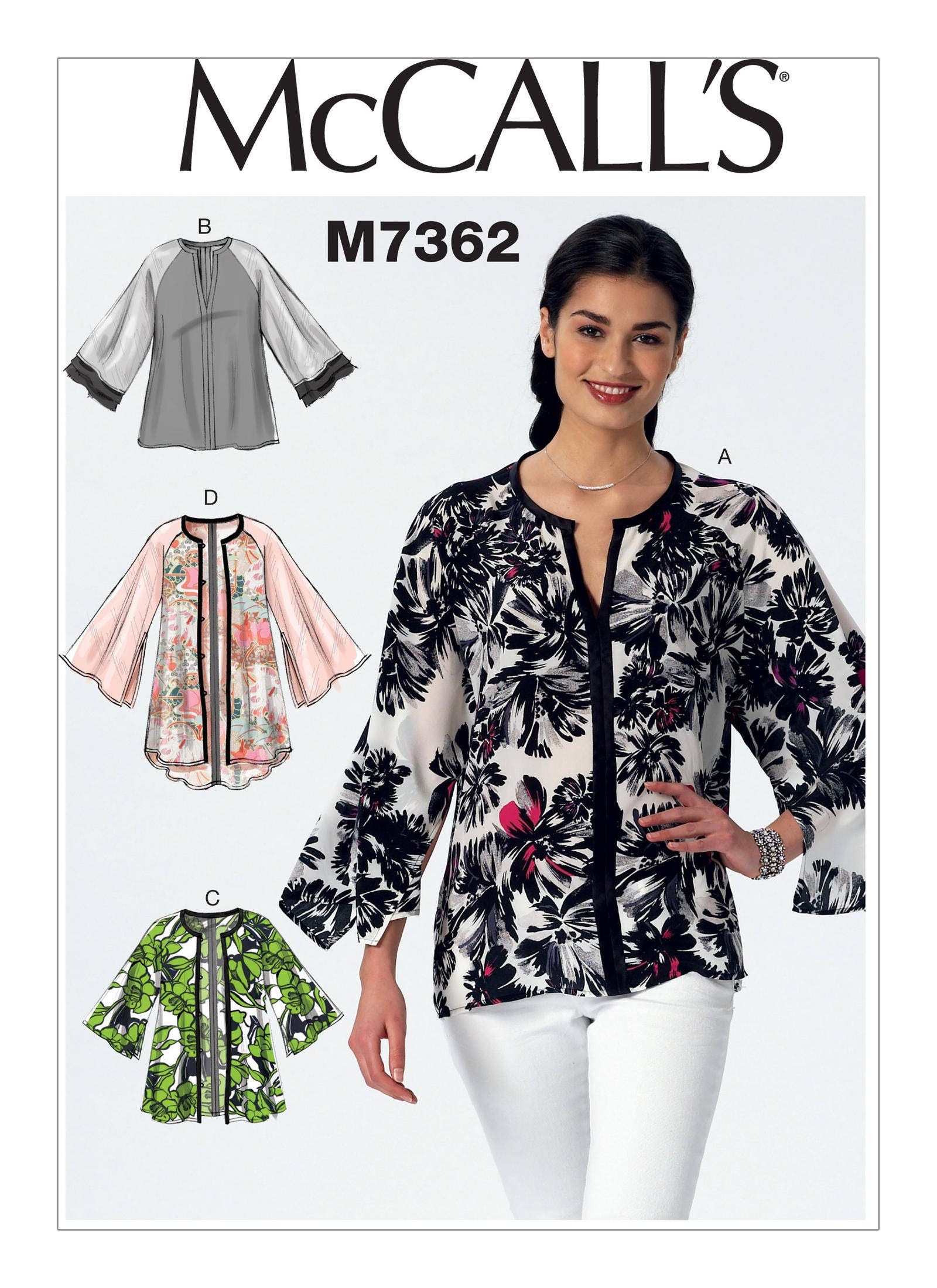 Sewing Pattern for Misses\' Raglan Sleeve Tops & Kimono Jackets ...
