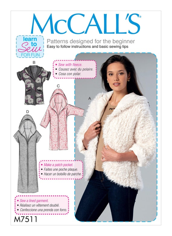 Sewing Pattern for Misses\' Open-Front Jackets Shawl Collar | Etsy