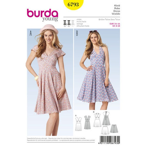Sewing Pattern for Misses Dresses Burda Style 6793 Young | Etsy