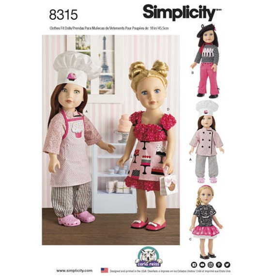 Sewing Pattern For 18 Doll Clothes Chef Doll Clothes Etsy