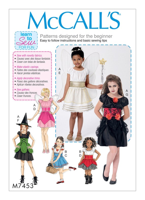 Sewing Pattern Girls Costumes LEARN TO SEW pattern Girls   Etsy