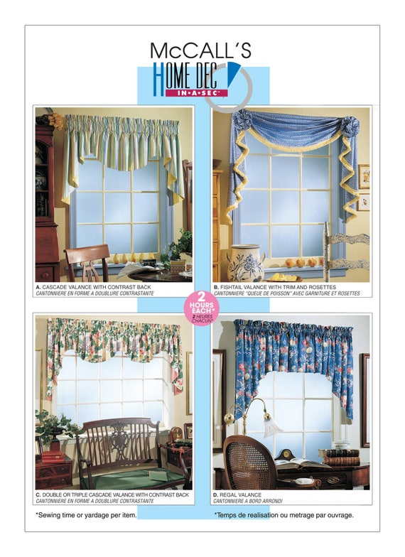 Sewing Pattern For Four Window Valance Patterns McCall's Etsy Stunning Valance Patterns