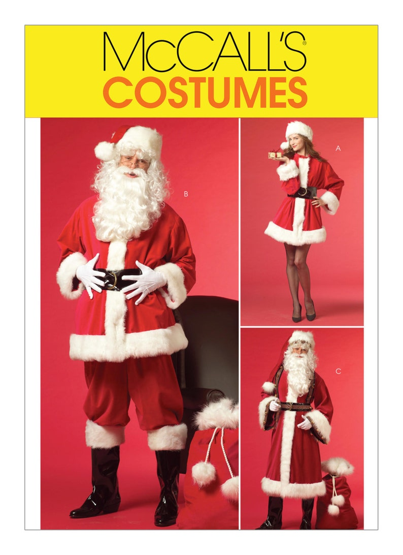 c106e7410 Sewing Pattern for SANTA SUIT-Misses'/Men's Mr. Mrs. Claus Costumes and Bag  ,McCall's Pattern M5550 , Christmas Costume, Santa Suit Pattern,
