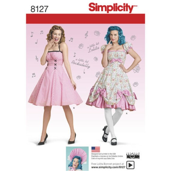 Sewing Pattern For Misses Lolita Costume Rockabilly Dress Etsy