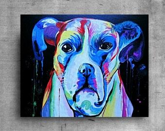 Dog Painting, Puppy Dog Art, Original Painting, Rainbow Dog Art, Wall Decor, Pet Painting, Home Decor, Wall Art, Animal Art, One of a Kind