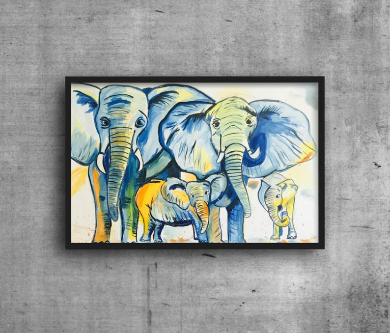 Elephant Family Painting Nursery Wall Decor Family Nursery Art Zoo Nursery Paintings Elephant Family Zoo Animal Decor Baby Boy Nursery