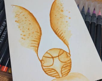 Golden Snitch Watercolor Painting