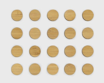 Laser Cut Wooden Circles - Bamboo Ply, 1.4cm diameter (unfinished) 20/50/100 units