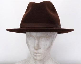 Vintage brown wool fedora hat 775aa69bfb7f