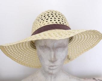 1970s vintage brown woven wide brim sun hat