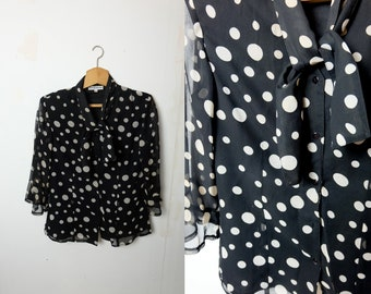 c31a4435c67 1990s vintage black and white chiffon polka dot blouse top with tie up  collar - Large size UK 12 EU 40