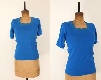 e8e68b41836bc Vintage 60s Bright Blue Lace T-shirt Top