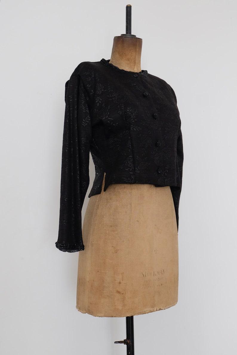 Vintage 80s Black Floral Patterned Cropped Jacket