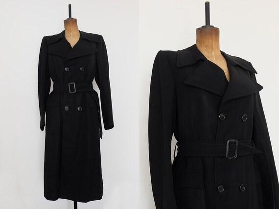 Vintage 80s Black 'santagostino' Long Trench Coat by Etsy